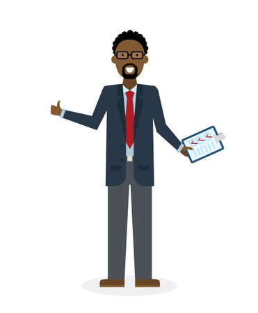 agree: Businessman with clipboard and thumb up on white background. Isolated character. African american businessman holding clipboard. Concept of supply, planning, agree, approve.