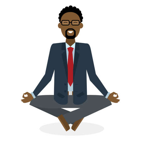 concentration: Businessman in lotus pose on white background. Isolated african american businessman. Concept of recreation, concentration and meditation. Yoga pose. Illustration