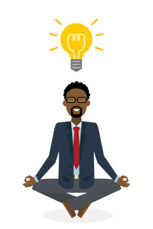 meditating: Businessman meditating with light bulb on white background. Isolated character. Strategy thinking. Brainstorming and meditating idea.