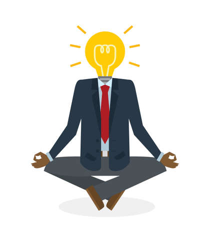 positive energy: Businessman with idea bulb head on white background. Isolated cartoon character. Positive energy. Abstract concept of creative person.