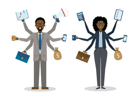 talented: Multitasking african american businessman and woman on white background. Successful businessman. Workaholic. Talented and professional. Leadership.