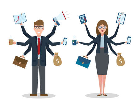 workaholic: Multitasking businessman and businesswoman with on white background. Successful businessman. Workaholic. Talented and professional. Leadership. Illustration