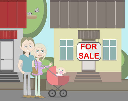 family outside house: Young family with for sale house. Family search for new house. House with for sale sign. Happy new family. Parents and newborn child. Illustration