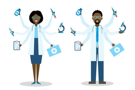 multitask: African American Medical Doctor on white multitasking concept.