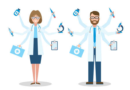 Multitasking man and woman doctor on white background.