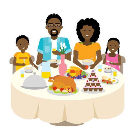 togetherness: Happy african american family dinner table. Thanksgiving celebration. Cake and turkey. Holiday togetherness.