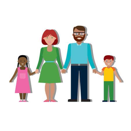 Multiculturele traditionele gezin met ouders en kinderen. Gelukkig gezin. Jongen en meisje. Afro-Amerikaans meisje en donkere vader. Glimlachende familie