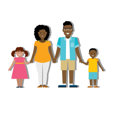 adopted: Multicultural traditional family with parents and children. Happy family. Boy and girl. African american family. Adopted girl. Smiling family