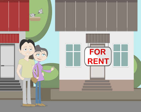 rent house: Young family with for rent house. Family search for new house. House with for rent sign. Happy new family. Parents and child. Pregnant mother.
