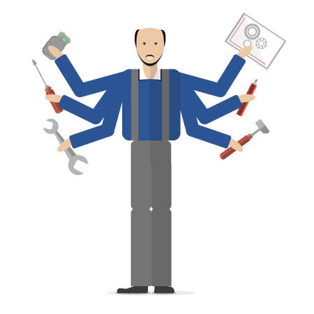 cartoon carpenter: Carpenter on white background. Isolated cartoon character. Multitasking plumber or carpenter standing with mechanic tools. Gear, hammer, screwdriver.