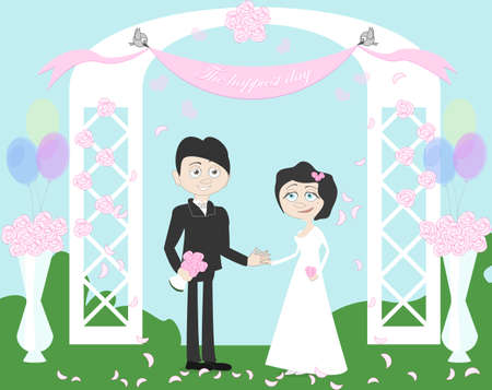 archway: Wedding couple standing in white beautiful archway. Birds holding banner. Happy young family. Honeymoon. Balloons and bowls. Illustration