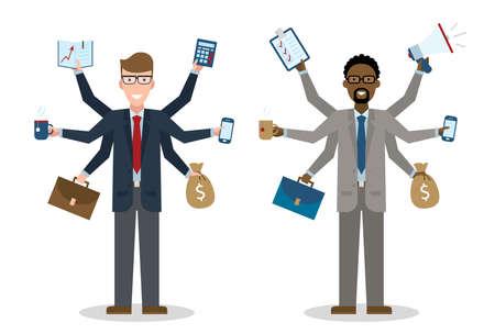workaholic: Multitasking six hands isolated businessmen on white background. Successful businessman. Workaholic. Talented and professional. Leadership.