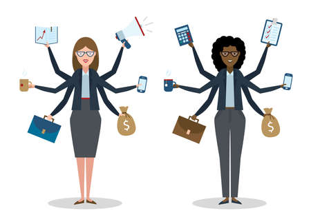 talented: Multitasking six hands isolated businesswomen on white background. Successful businessman. Workaholic. Talented and professional. Leadership.