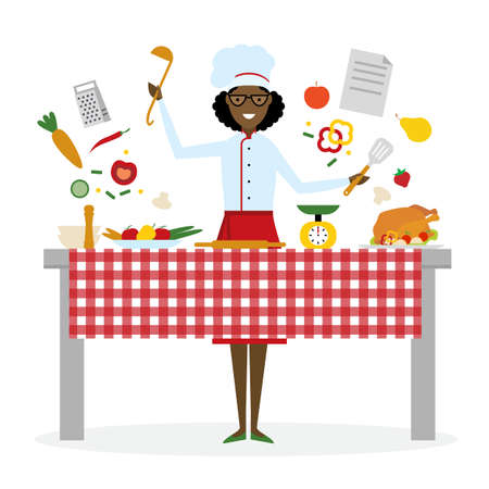 american table: Female african american chef cooking on pink background. Restaurant worker preparing food. Chef uniform and hat. Table and cafe equipment. Illustration