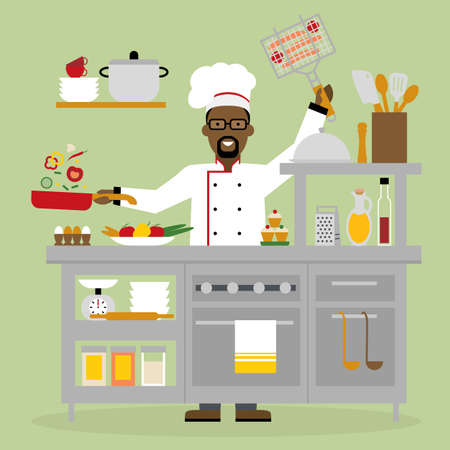 american table: Male african american chef cooking on pink background. Restaurant worker preparing food. Chef uniform and hat. Table and cafe equipment. Illustration