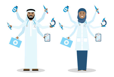 talented: Multitasking arabian doctors with six hands standing on white background. Medical treatment, fast diagnosis and emergency. Doctor shiva is a concept of multiskilled doctor. Man and woman.