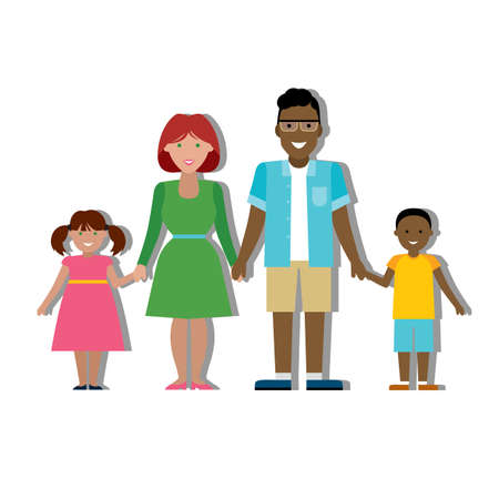 african american family: Multicultural traditional family with parents and children. Happy family. Boy and girl. African american father. Smiling family