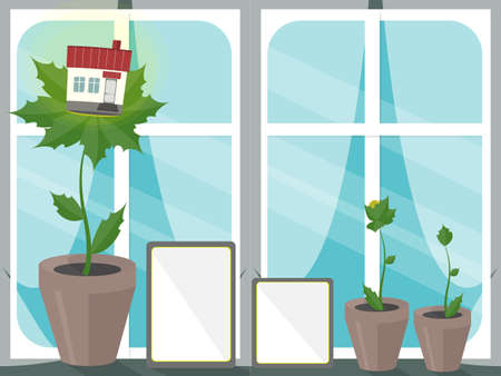 keep clean: House on leaves. Concept of eco house. Ecological building. Keep clean and organic.