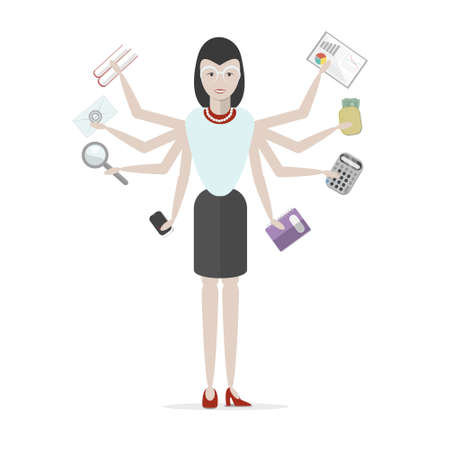 Multitasking businessman with six hands standing on white background. Successful businessman. Workaholic. Talented and professional. Leadership. Illustration