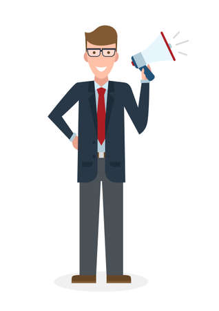 man holding book: Business man with  megaphone on white background. Isolated caucasian businessman holding loudspeaker and book. Announcement and advertising. Attention please. Loud voice.