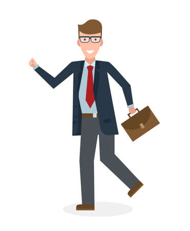 suit case: Businessan running on white background. Isolated cartoon character. Caucasian businessman with suit case. Successful achievement. Active work. Fast lifestyle.