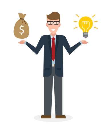 buy sell: Businessman with idea bulb and money bag on white background. Isolated cartoon chararter. Caucasian businessman investor. Innovation.