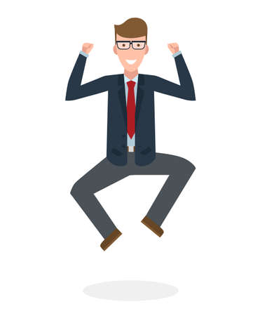 businessman jumping: Businessman jumping in the air on white background. Concept of victory, business success and celebrating. Isolated happy caucasian businessman is excited.