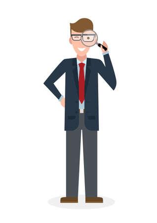 Homme d'affaires avec loupe sur fond blanc. caractère isolé. observateur du Caucase. outil Analyse. Loupe. La curiosité et la recherche dans les affaires. Vecteurs
