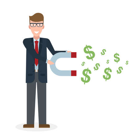 earn money: Businessman with magnet on white background. Caucasian businessman holding magnet. Magnetize money, wealth, finance. Earn money.