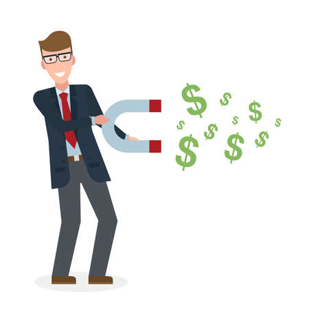 Businessman with magnet on white background. Caucasian businessman holding magnet. Magnetize money, wealth, finance. Earn money.