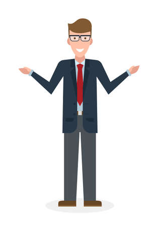 adviser: Businessman pointing on white background. Isolated caharacter. Instructor and adviser. Illustration