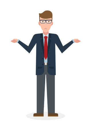 Confusing businessman on white background. Isolated character. Businessman shrugging shoulders. Uncertain, unsure and worry. Thinking about answer.