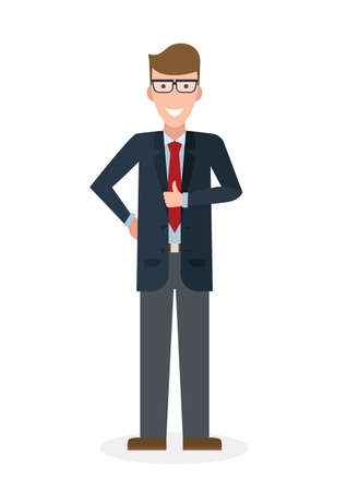 thump up: Businessman with thump up on white background. White-collar gesturink thumb up. Successful and positive consultant. Greeting or agreement.