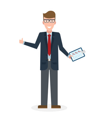 agree: Businessman with clipboard and thumb up on white background. Isolated character. Businessman holding clipboard. Concept of supply, planning, agree, approve.