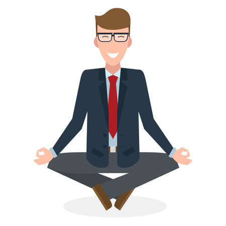 Businessman in lotus pose on white background. Isolated businessman. Concept of recreation, concentration and meditation. Yoga pose.