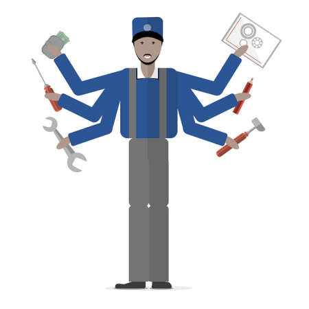garden maintenance: Carpenter on white background. Isolated cartoon character. Multitasking african american plumber or carpenter standing with mechanic tools. Gear, hammer, screwdriver.