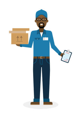 courier: Delivery man with parcel. Fast transportation. Isolated african american cartoon character on white background. Postman, courier with clipboard and package. Illustration