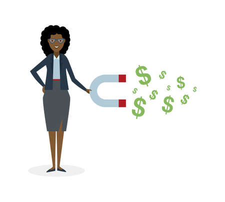 earn money: Businesswoman with magnet on white background. African american businesswoman holding magnet. Magnetize money, wealth, finance. Earn money.