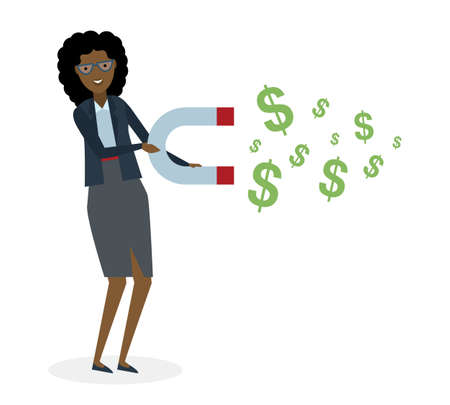 magnetize: Businesswoman with magnet on white background. African american businesswoman holding magnet. Magnetize money, wealth, finance. Earn money.