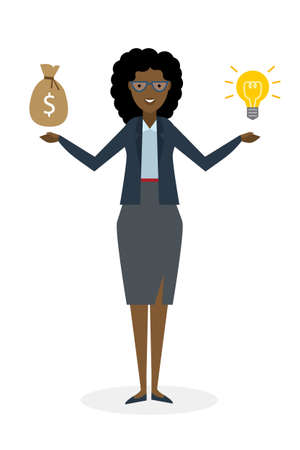 exchanging: Businesswoman with idea bulb and money bag on white background. Isolated cartoon chararter. African american businesswoman investor. Innovation.