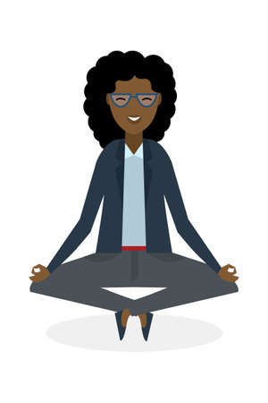 concentration: Businesswoman in lotus pose on white background. Isolated african american businesswoman. Concept of recreation, concentration and meditation. Yoga pose.