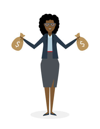 rich girl: Businesswoman with money bags. Isolated character. African american businesswoman holding bags of money. Wealth and investment.