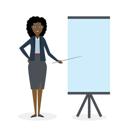 african teacher: Businesswoman with pointer and easel board on white background. Teacher or businesswoman showing and presenting. African american businesswoman. Office person.