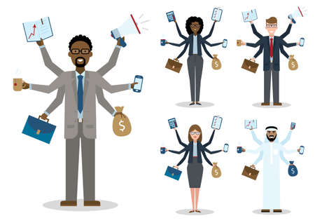 talented: Multitasking african american, caucasian and arabian businessmen and women on white background. Successful businessmen. Workaholic. Talented and professional. Leadership. Set. Illustration