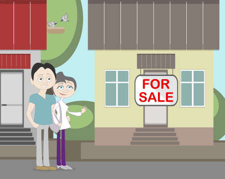 family outside house: Young family with for sale house. Family search for new house. House with for sale sign. Happy new family.