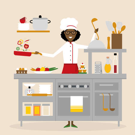 american table: African american chef cooking. Restaurant worker preparing food. Chef uniform and hat. Table and cafe equipment.