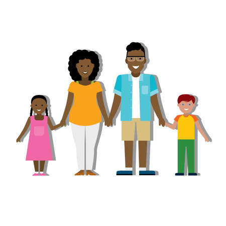 adopted: Multicultural traditional family with parents and children. Happy family. Boy and girl. African american family. Adopted boy. Smiling family Illustration