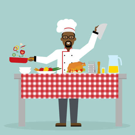 american table: Male african american chef cooking on blue background. Restaurant worker preparing food. Chef uniform and hat. Table and cafe equipment. Illustration
