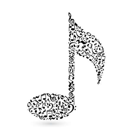 Music note made of music notes. Black notes pattern. Black and white design. Note shape. Poster and decoration idea.