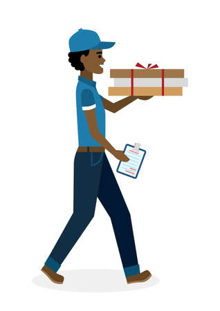 deliver: Delivery man with pizza boxes. Fast transportation. Isolated african american cartoon character on white background. Postman, courier with fresh pizza and clipboard. Handsome smiling male chararcter.